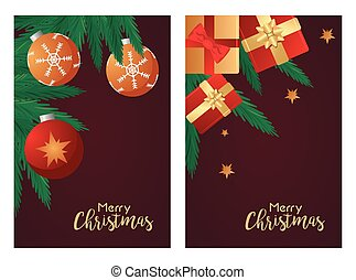 happy merry christmas letterings cards with red gifts and balls