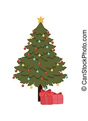 happy merry christmas pine tree with gift decoration
