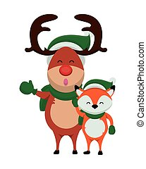 happy merry christmas reindeer with fox