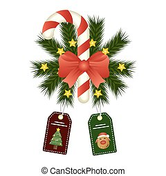 happy merry christmas sweet cane and bow with wreath