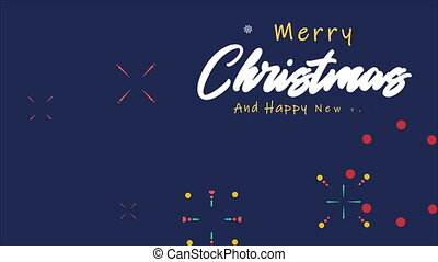 Happy merry christmas with animation firework collection