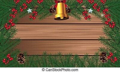 happy merry christmas with golden bell in wooden background