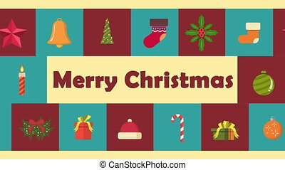 Happy Merry Christmas with ornament Christmas animation...