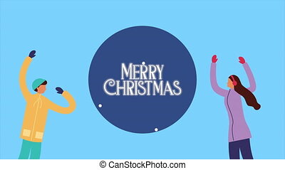 happy merry christmas with people happy