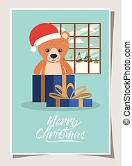 happy mery christmas card with bear teddy in gift