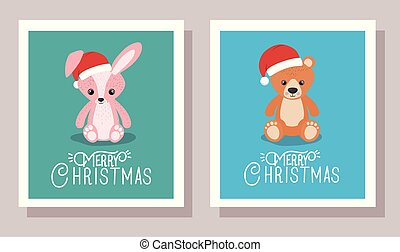 happy mery christmas card with rabbit and bear toys
