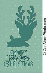 happy mery christmas card with reindeer