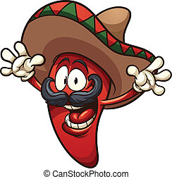 Happy Mexican chili pepper. Vector clip art illustration with simple gradients. All in a single layer.