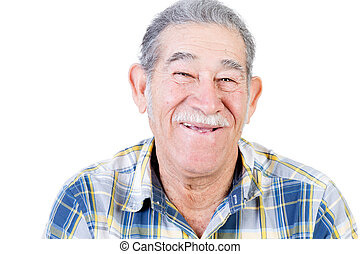 Happy Mexican man with mustache and flannel shirt - One...