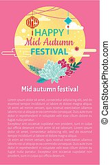 Happy Mid Autumn Festival Card Floral Decorated