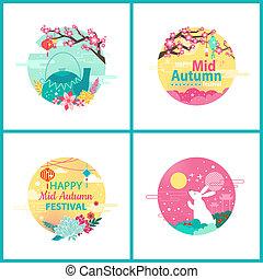 Happy Mid Autumn Festival Cultural Event Emblems