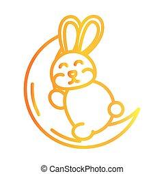 happy mid autumn festival, cute bunny sleeping on moon cartoon, gradient style icon