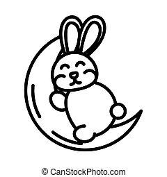 happy mid autumn festival, cute bunny sleeping on moon cartoon, line style design