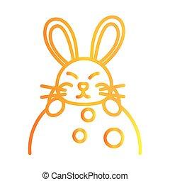 happy mid autumn festival, cute rabbit on moon decoration cartoon, gradient style icon