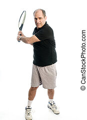 happy middle age man playing tennis
