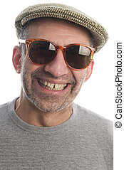 happy middle age senior man with sunglasses