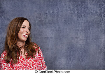 Happy middle age woman  smiling