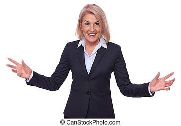 happy middle aged businesswoman isolated