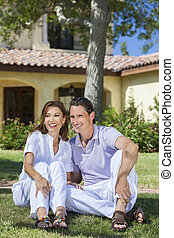 Happy Middle Aged Man Woman Couple Sitting Outside - An ...
