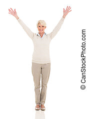 happy middle aged woman arms open