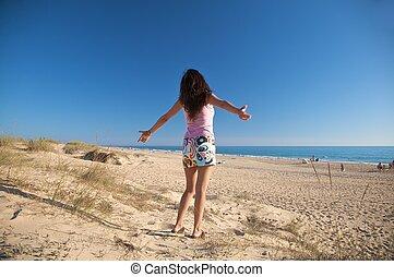 happy miniskirt woman - woman at beach of palmar in cadiz...