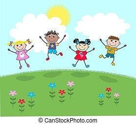 happy mixed kids