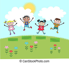 happy mixed kids jumping on a hill