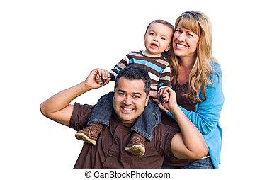 Happy Mixed Race Ethnic Family On White