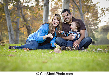 Happy Mixed Race Ethnic Family Playing with Bubbles In The Park