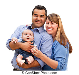 Happy Mixed Race Family Posing for A Portrait Isolated on a...