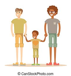 Happy mixed-race gay family with son.
