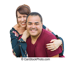 Happy Mixed Race Young Adult Couple Portrait Isolated on a White Background