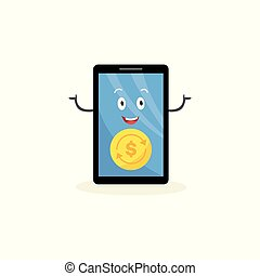 Happy mobile phone cartoon character with money symbol, smartphone screen with golden coin and dollar sign and smiling face