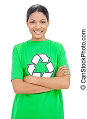 Happy model wearing recycling tshirt posing