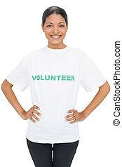 Happy model wearing volunteer tshirt posing