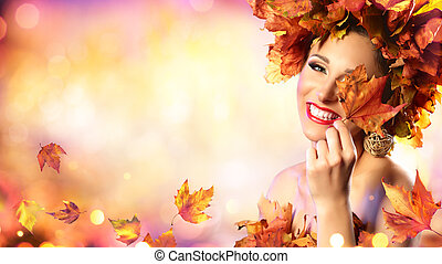 Happy Model Woman In Autumn Leaves