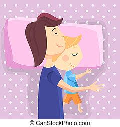 Happy mom and son sleep together