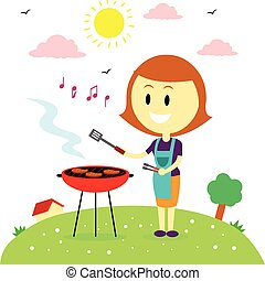 Happy Mom Barbecuing in the Backyar