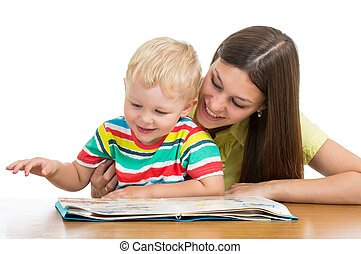 happy mom reading a book to child son