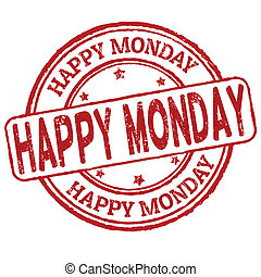 Happy monday stamp - Happy monday grunge rubber stamp on...