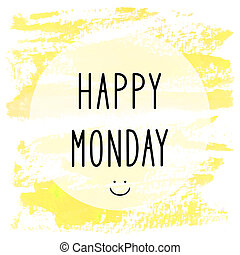 Happy Monday text on yellow watercolor background