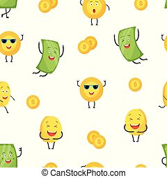 Happy money cartoon characters - seamless pattern. Green dollar bill and golden coin smiling and laughing