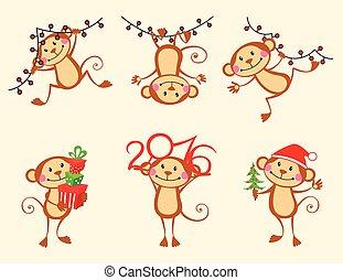 Happy monkey cartoon New Year set