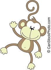 happy monkey - isolated cartoon monkey, individual objects...