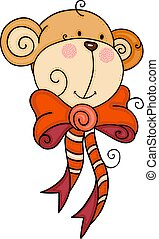 Happy monkey face with red ribbon bow