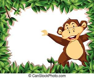 Happy monkey in nature scene