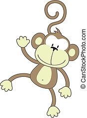 happy monkey - isolated cartoon monkey, individual objects...