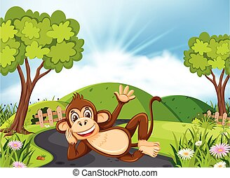 Happy monkey laying on the road