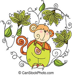 Happy monkey with green leaves shaped heart frame