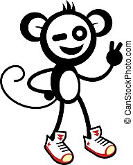 happy monkey with shoes